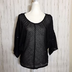 LULUMARI Black Sequin Lace Up Blouse